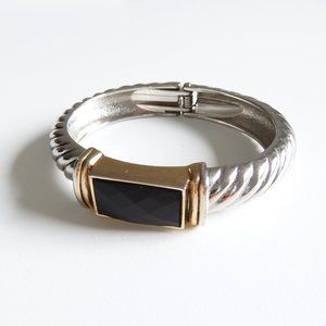 Multi-Tone Twist Hinged Cable Bracelet Cuff